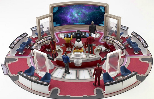 Star Trek (2009) U.S.S. Enterprise bridge playset and Galaxy Collection figures