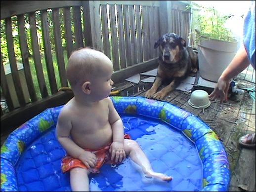 Evan goes swimming!
