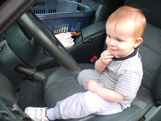 Evan in the driver's seat