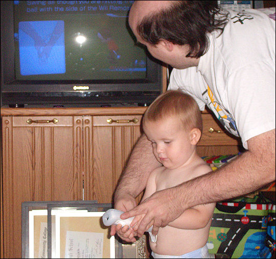 Evan and daddy and the Wii