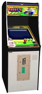3-D computer rendering of Rally-X cabinet