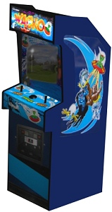 3-D computer rendering of Wacko game cabinet