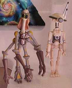 Star Wars Episode I Ody Mandrell and Pit Droid figures - photo copyright 1999 Earl Green / theLogBook.com
